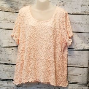 NY Collection Pink Lace S/S Shirt 3X
